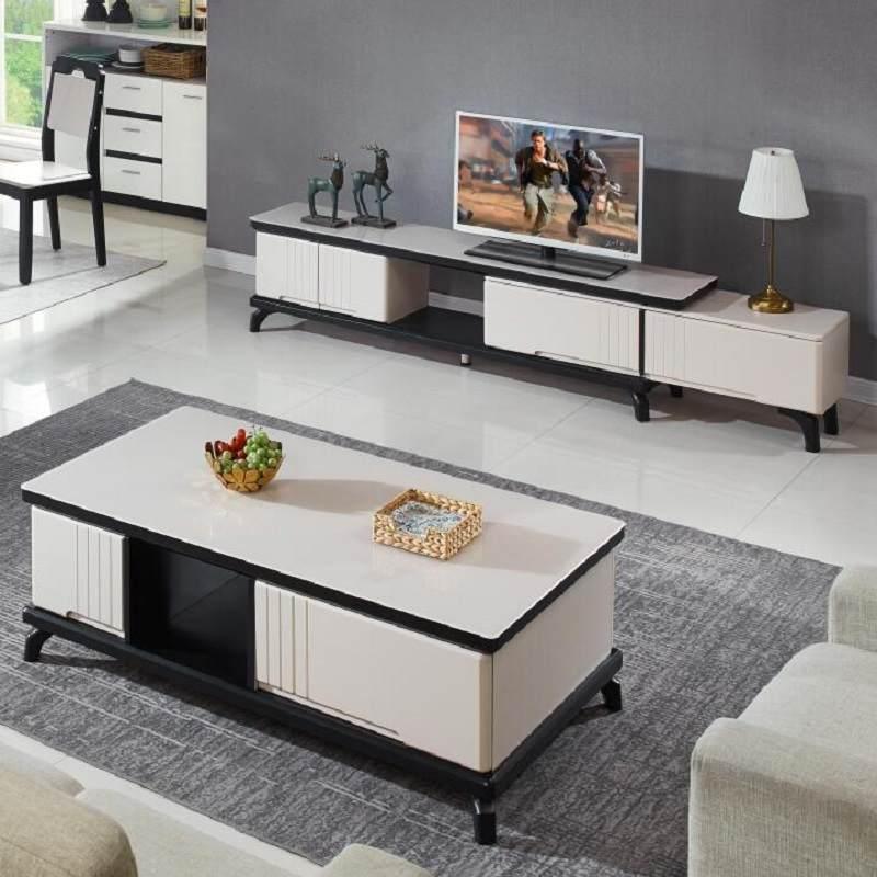 现代简约茶几电视柜组合北欧钢化玻璃伸缩电视柜大理石