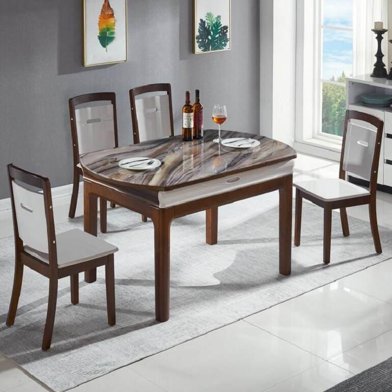餐桌 实木餐桌椅组合伸缩折叠现代简约大理石吃饭圆桌小户型家用