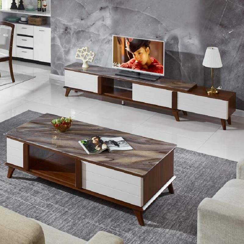 北欧大理石茶几电视机柜组合现代简约客厅小户型轻奢家具组合套装