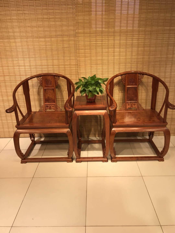 大果紫檀(缅甸花梨)红木皇宫椅三件套,榫卯结构,明清古典家具,客厅经典会客椅