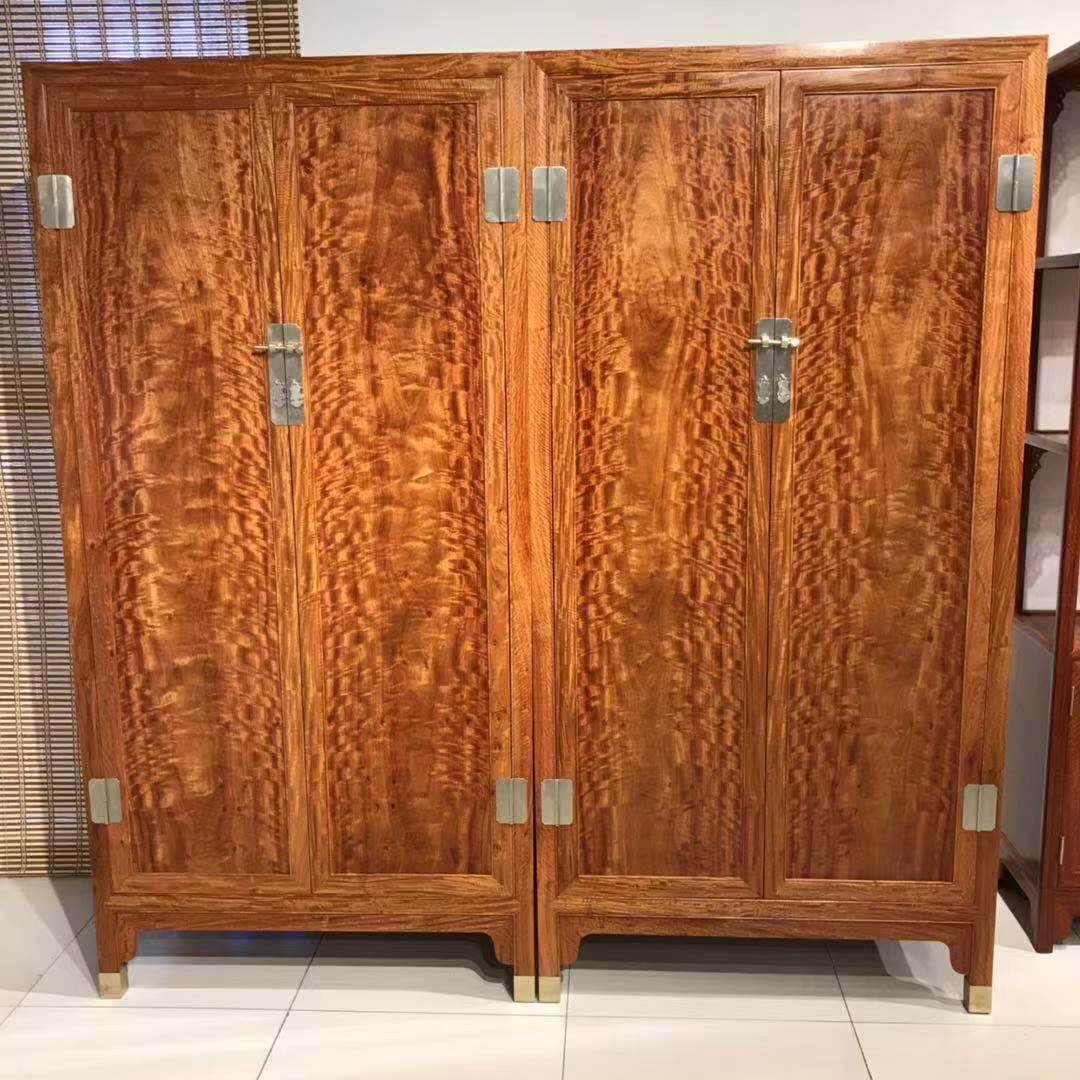 红木家具 缅甸花梨木仿古全实木储物卧室漂亮火焰纹衣柜 大果紫檀