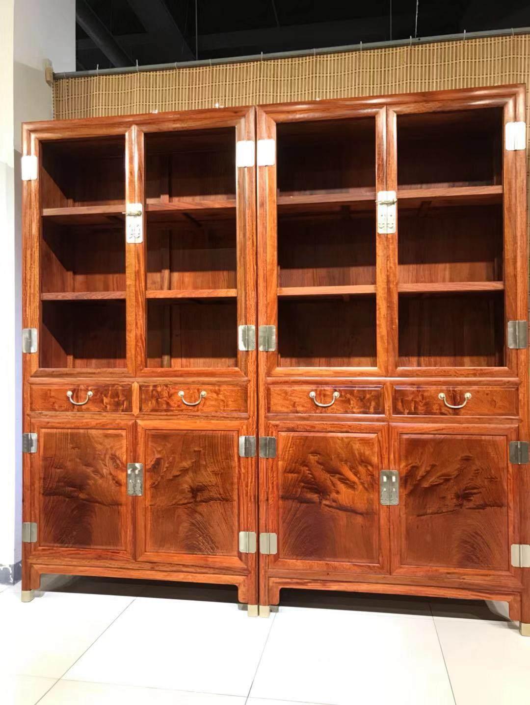 红木书柜书橱刺猬紫檀花梨木素面书架新中式实木储物柜展示柜隔断