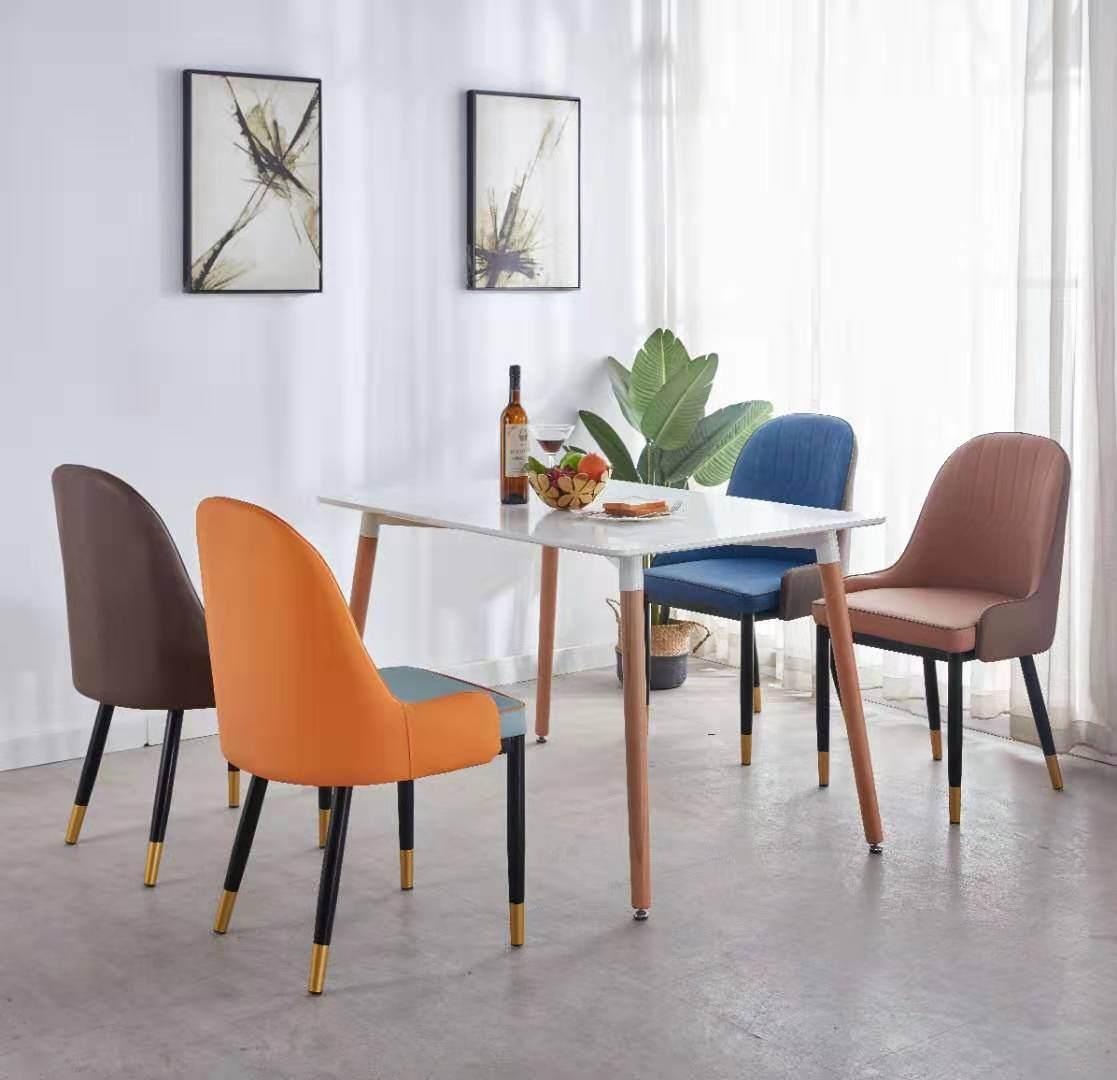 北欧轻奢椅设计师金属时尚椅子创意皮靠背酒店椅咖啡厅椅现代餐椅