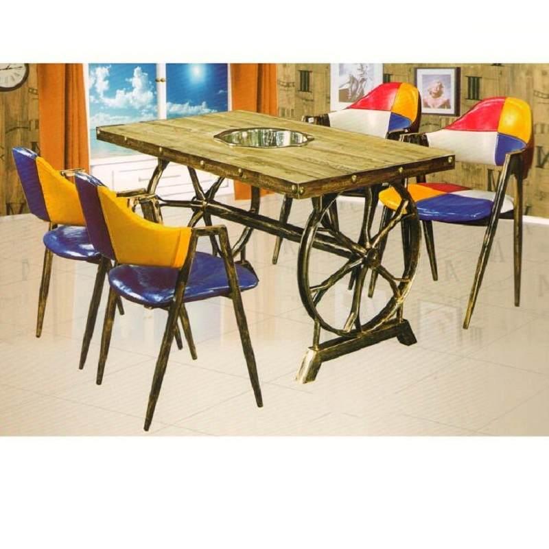 火锅桌子电磁炉一体复古工业风火锅桌椅组合烧烤火锅店火锅桌圆桌