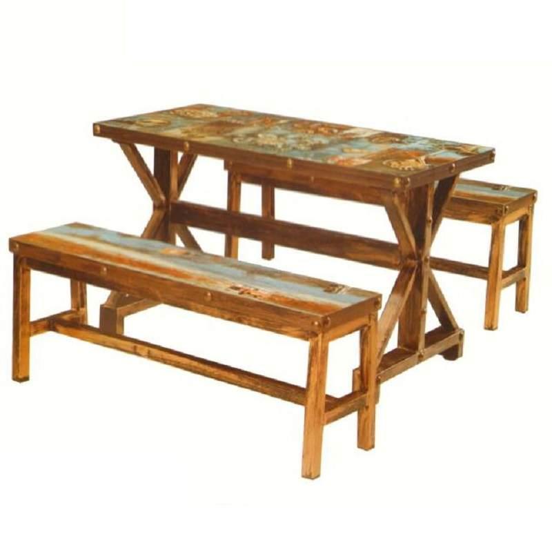 泡茶桌椅组合实木原木老式餐椅民宿咖啡色防潮中餐厅做旧户外家具