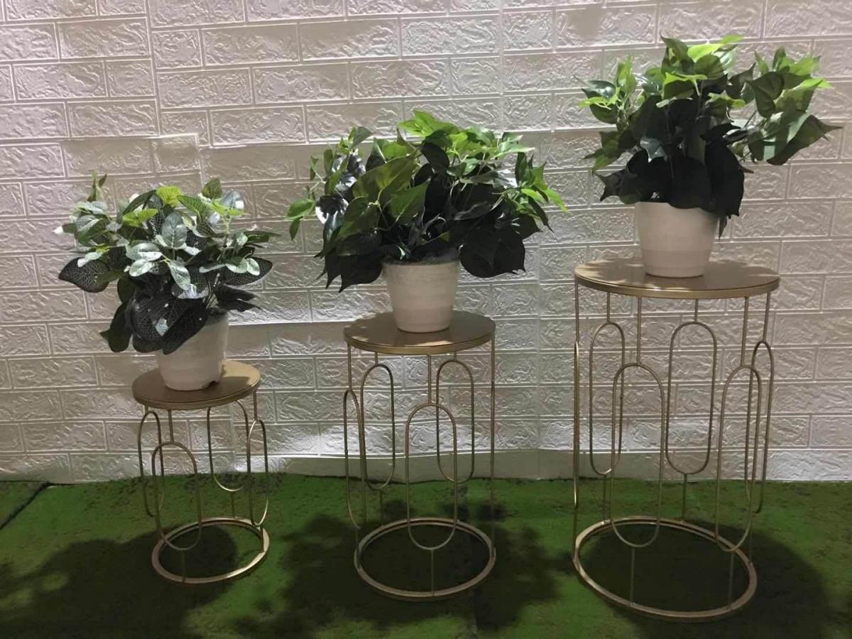 北欧简约茶几桌边欧式大厅多层铁艺金色花架