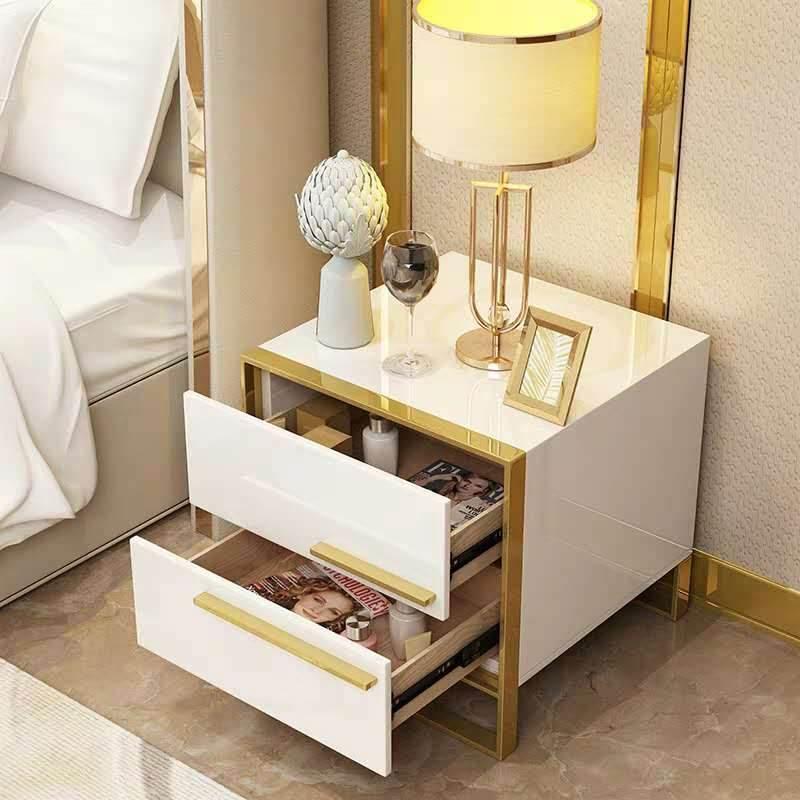 北欧床头柜简约后现代轻奢五金柜卧室储物柜简易烤漆小柜子迷你柜