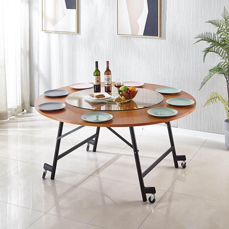 折叠圆桌餐桌家用圆形简易饭桌小户型实木饭店酒店可折叠大圆桌面