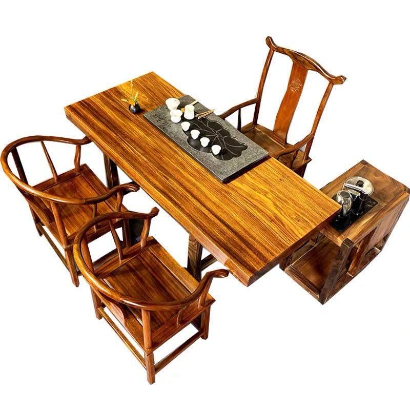 私人定制实木大板茶桌老板办公桌椅组合原木会议桌餐桌巴花奥坎花梨胡桃木