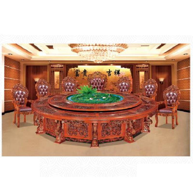 定制 厂家直销新款酒店电动手动大圆桌自动餐桌大圆台酒店实木桌椅火锅桌