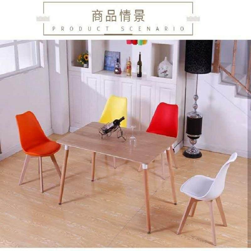 北欧伊姆斯塑料实木餐椅镂空咖啡网红洽谈成人休闲家用餐厅椅靠背