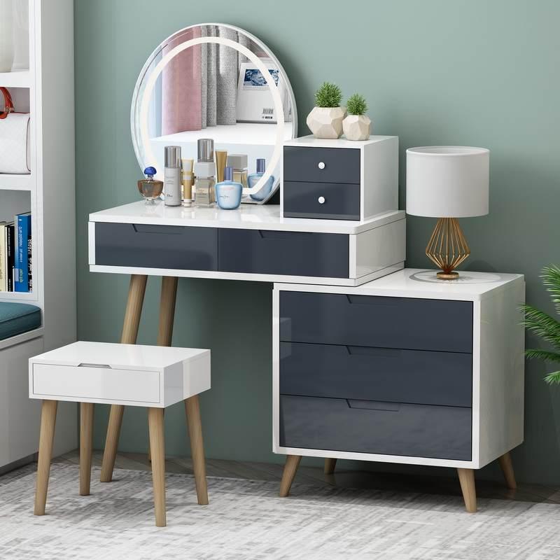 北欧网红ins风梳妆台一体卧室烤漆小型收纳柜简约现代实木化妆桌