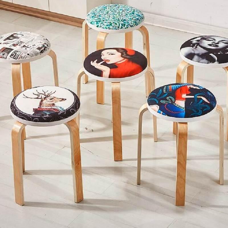 实木凳子家用小圆凳时尚加厚餐桌椅简约软面可摞叠曲木加固成人凳