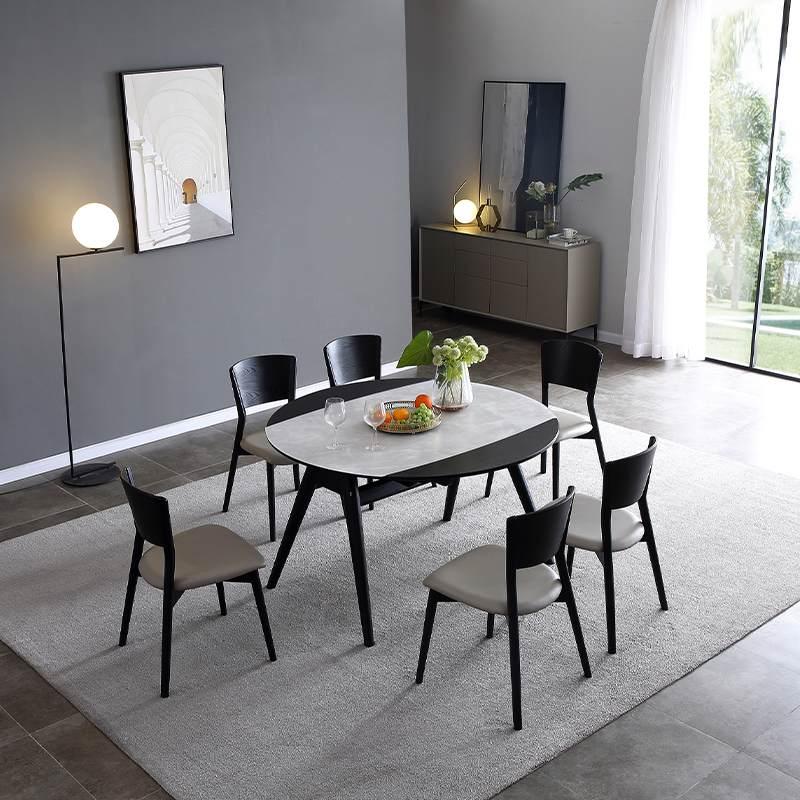 北欧餐桌椅组合现代简约伸缩折叠家用全实木餐桌小户型圆形饭桌