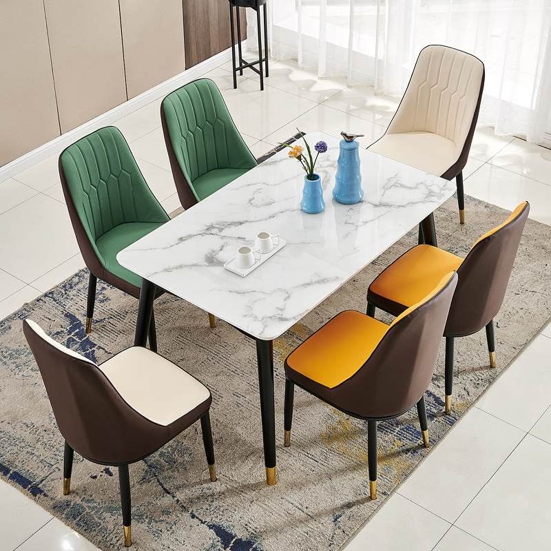 北欧轻奢实木餐桌椅组合小户型4人6人餐桌简约现代家用长方形饭桌