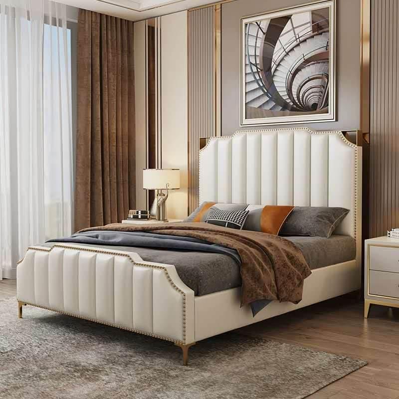 现代简约轻奢床小户型1.8米软包皮床家具北欧风格双人床卧室婚床