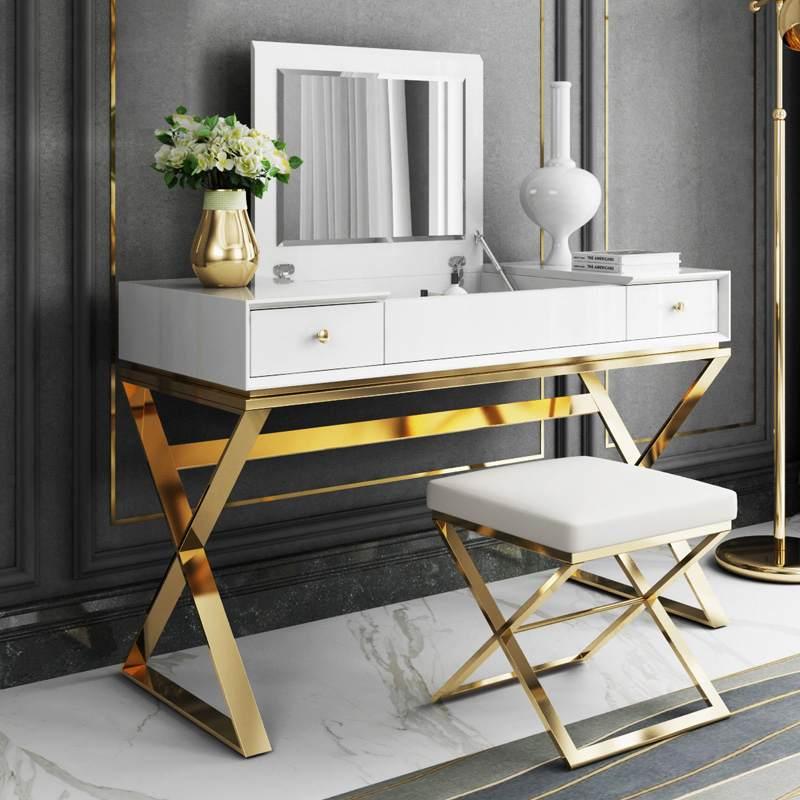 卧室梳妆台轻奢后现代简约不锈钢港式化妆台小户型翻盖化妆柜桌子