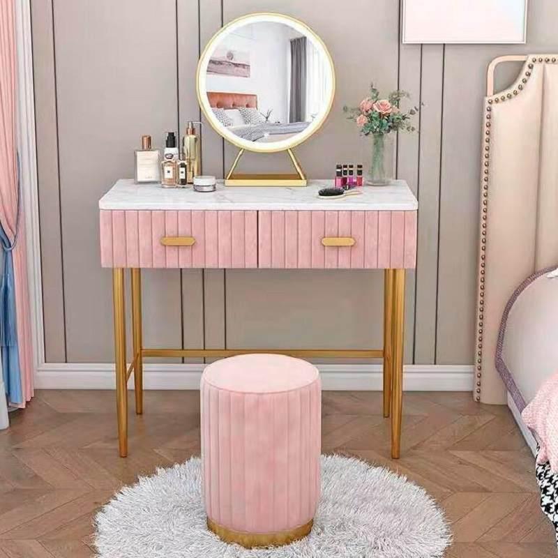 大理石轻奢梳妆台卧室简约网红ins化妆台收纳柜一体化妆桌多功能