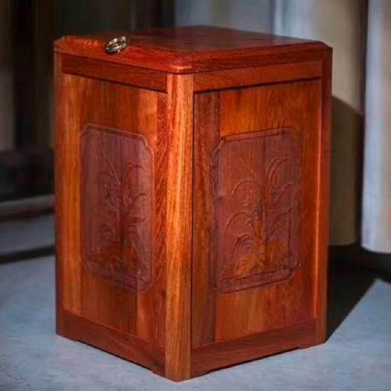 中式红木垃圾桶家用实木带盖缅甸花梨木雕花卧室办公室纸篓茶水桶