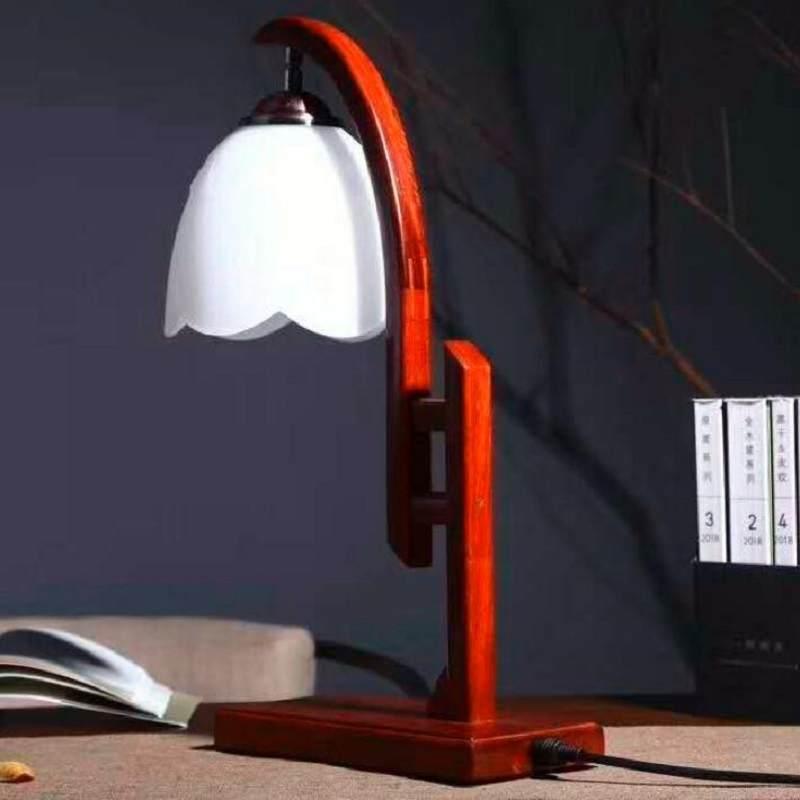 缅甸花梨台灯红木桌面书桌小夜灯实木卧室床头灯家居摆件收藏品