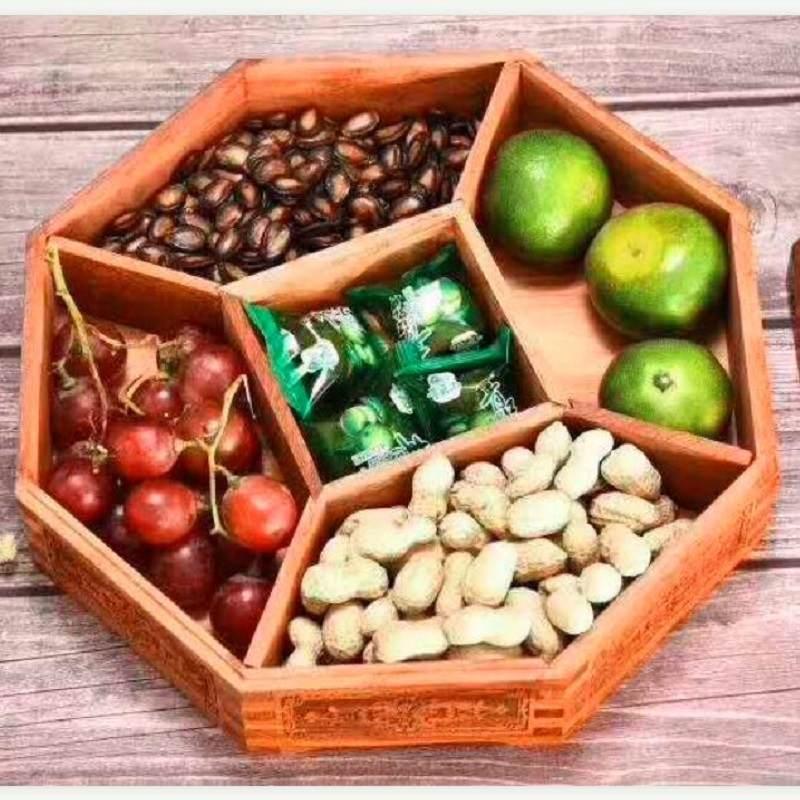 缅甸花梨实木果盘八角干果盒家用红木零食盒客厅糖果分格带盖礼品
