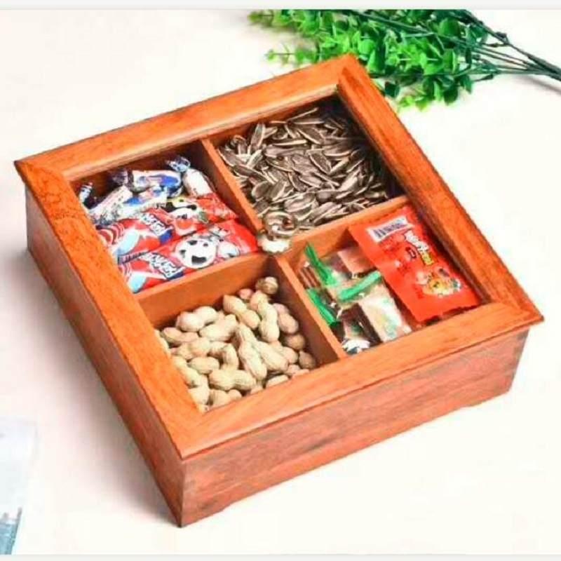 缅甸花梨木零食果盒多功能收纳盒糖果盒零食干果年货分隔带盖礼盒