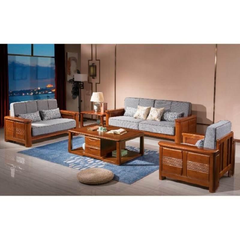 实木沙发 中式大户型客厅123组合沙发茶几电视柜组合家具
