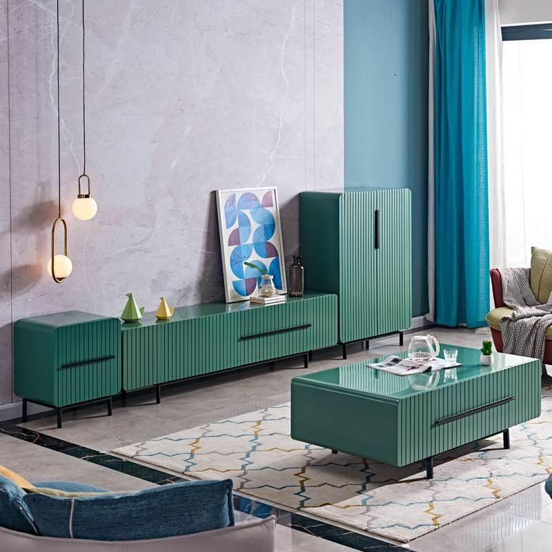 北欧轻奢客厅茶几电视柜组合现代简约意式极简小户型储物地柜家用