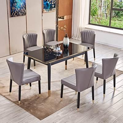 北欧餐桌椅组合现代简约小户型长方形钢化玻璃饭桌家用轻奢大理石