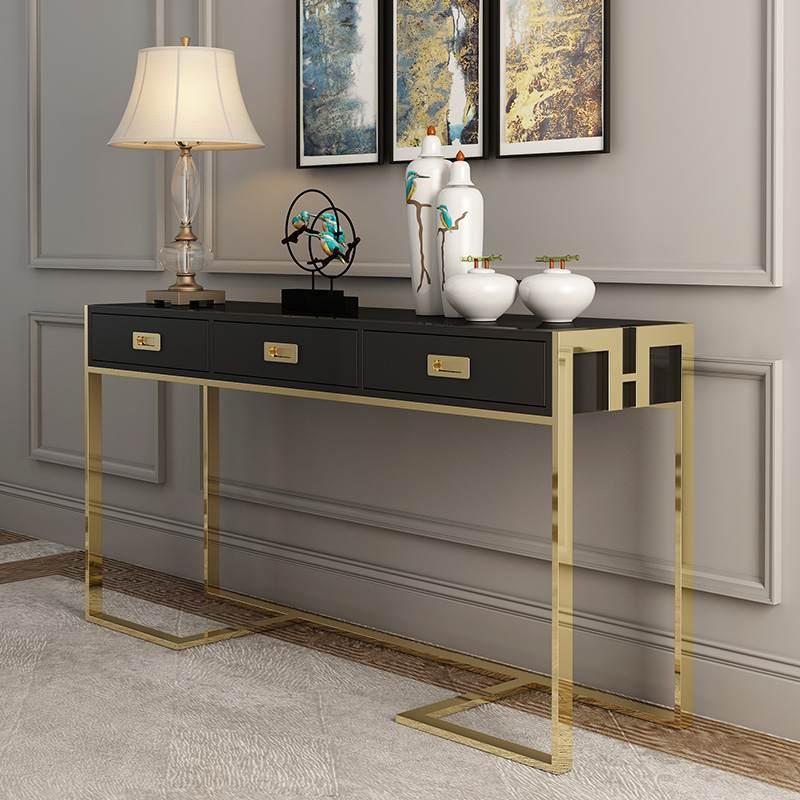 轻奢客厅靠墙边柜1.2米不锈钢烤漆玄关桌后现代长条窄边端景案台