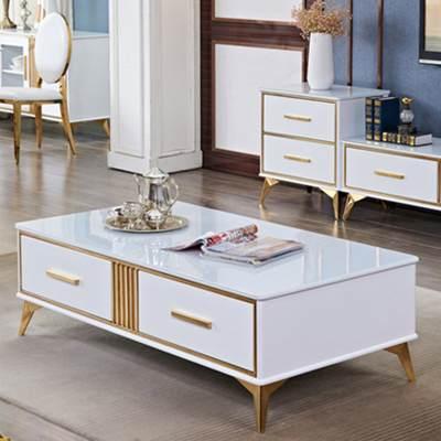 轻奢后现代电视柜茶几组合简约小户型客厅不锈钢烤漆组合套装地柜