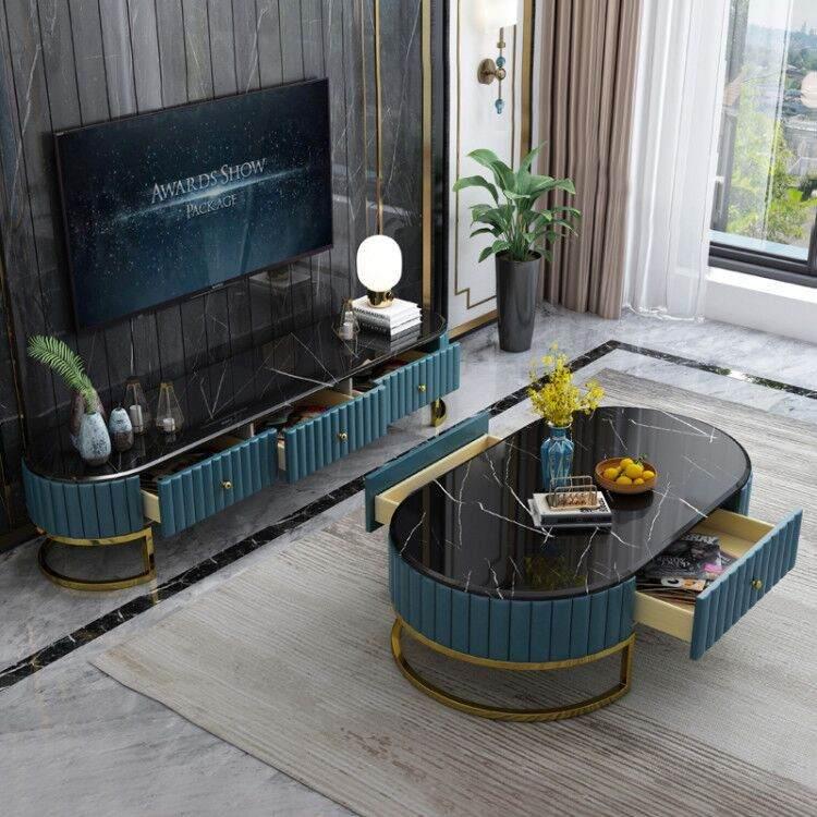北欧大理石茶几电视柜茶几桌客厅家用地柜小户型简约后现代组合