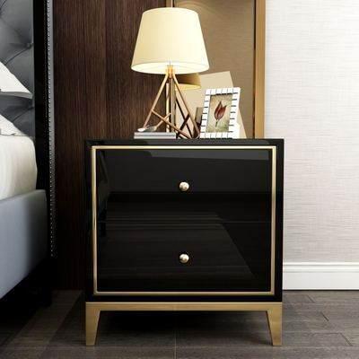 后现代卧室床头柜客厅简约新古典黑白烤漆带抽屉储物柜收纳柜角几