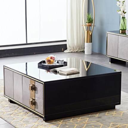 港式轻奢茶几电视柜组合北欧后现代客厅小户型烤漆茶桌地柜钢化玻璃