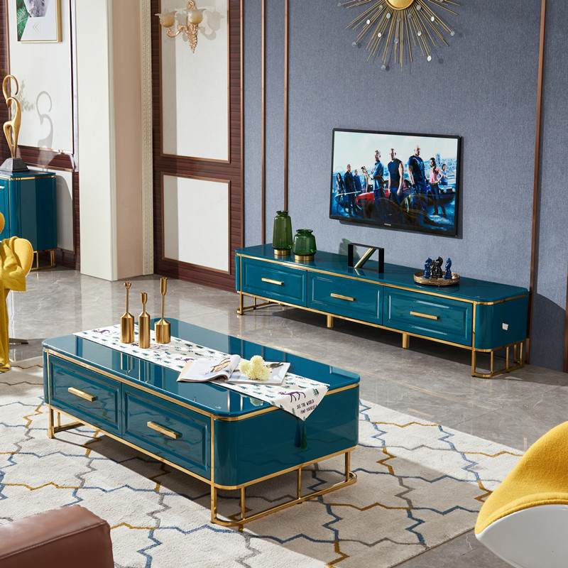 北欧现代轻奢茶几电视柜网红客厅孔雀绿简约现代家用茶桌组合