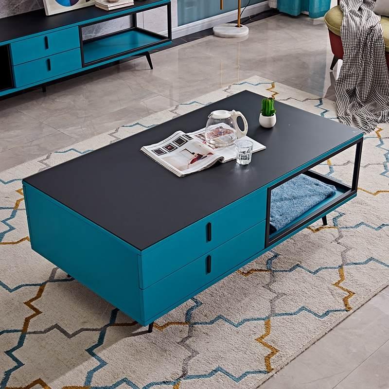 ins风简约现代电视柜小户型客厅家用北欧茶几组合成套家具蓝色