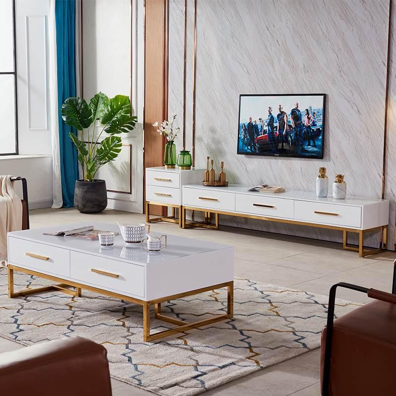 现代简约客厅配套家具组合港式白色高亮漆后现代轻奢华电视柜茶几