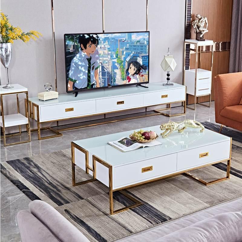 轻奢后现代茶几电视柜组合套装 客厅整装 简约钢化玻璃长方形茶桌