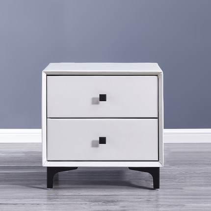 厂家直销实木床头柜现代简约皮艺床边柜北欧高端环保卧室小柜子