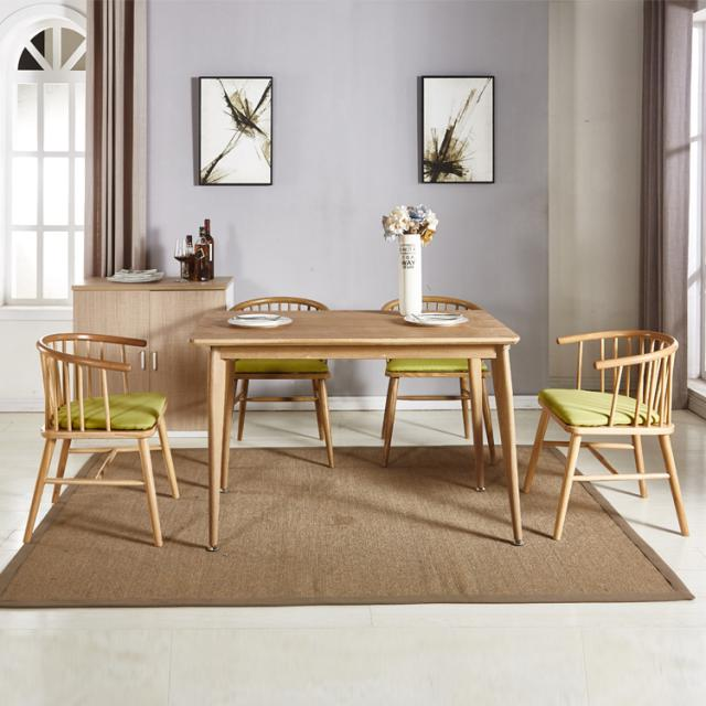 北欧原木色主题现代简约餐厅家用洽谈桌会议桌饭桌小户型
