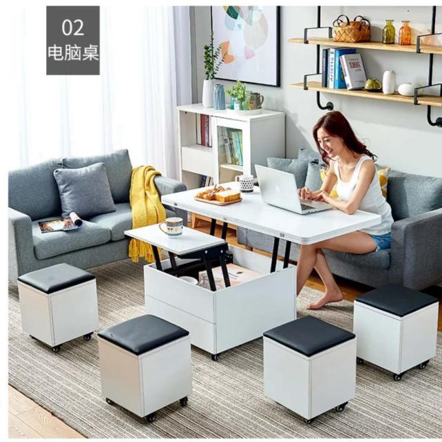 汇嘉百丽 多功能 板式 茶几 电脑桌 餐桌 白色 浅橡 胡桃