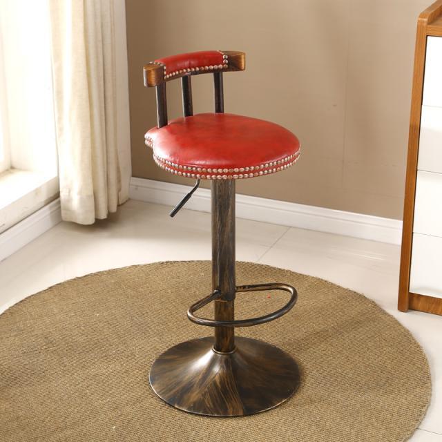 酒吧椅复古星巴克升降旋转实木靠背酒吧椅简约前台高脚吧台凳子