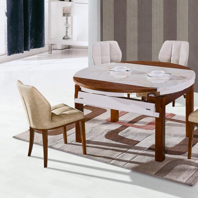 实木餐桌玻璃理石台面餐桌椅组合伸缩折叠方圆形家用饭桌现代简约