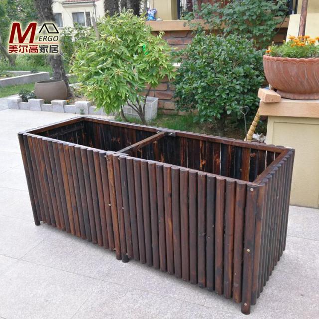 防腐木花箱特大号定制蔬菜花槽长方形种植箱实木种菜盆碳化木花盆