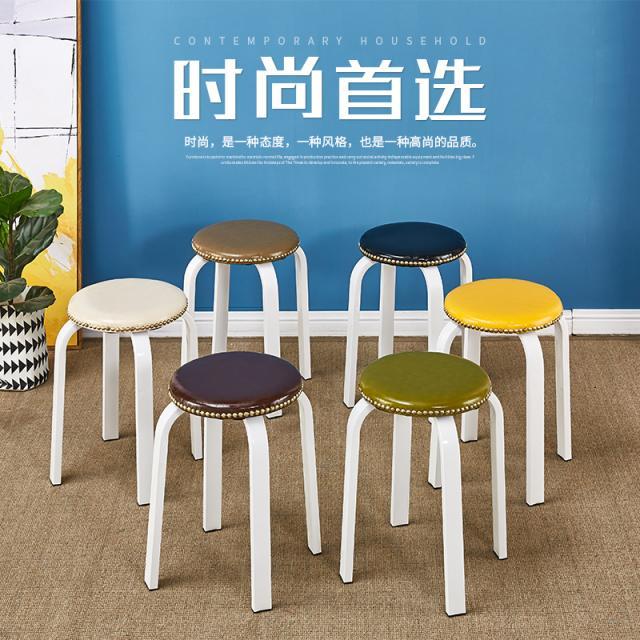 美式铁艺凳子椅子家用简约时尚板凳餐桌凳餐椅加厚成人欧式圆凳子