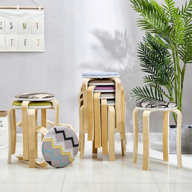 简易实木凳子家用板凳曲木凳子凳子创意餐桌凳高凳成人加厚圆凳子