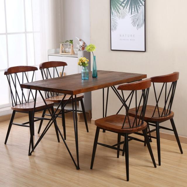 工业风复古铁艺实木餐厅桌椅餐馆西餐厅咖啡厅奶茶店甜品店餐椅