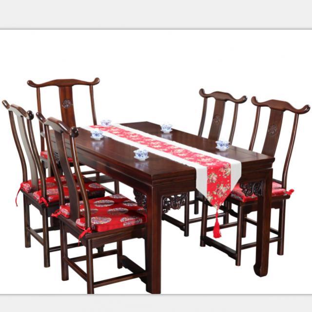 淳木是世家中式复古仿明清古典长方型全实木餐桌椅组合榫卯坐垫