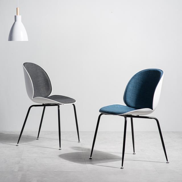 北欧甲壳虫椅子家用靠背网红餐椅现代简约餐厅铁艺凳子办公书桌椅