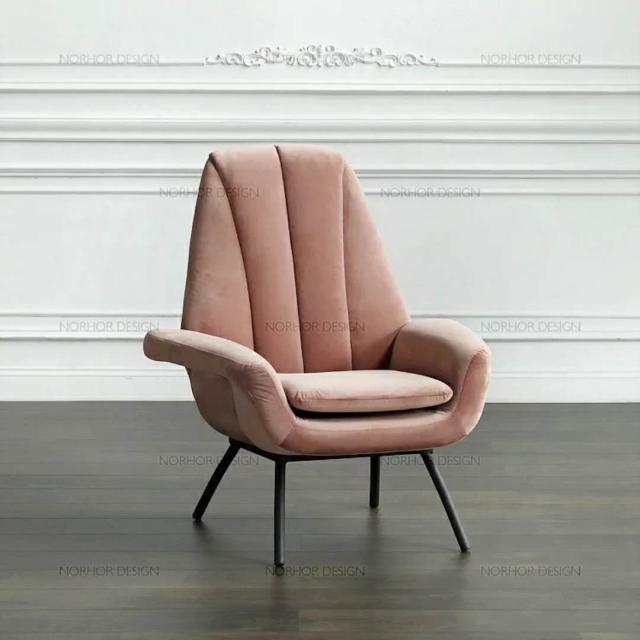 简约现代休闲沙发欧式创意休闲椅大师艺术单人沙发简易布艺软包椅
